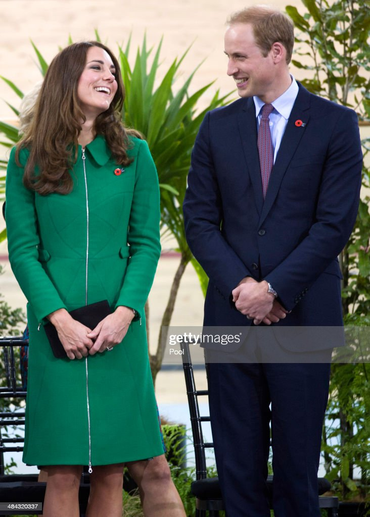 Prince William, Duke of Cambridge and Catherine, Duchess of Cambridge during a visit to the Avantidrome on April 12, 2014 in Hamilton, New Zealand. The Duke and Duchess of Cambridge are on a three-week tour of Australia and New Zealand, the first official trip overseas with their son, Prince George of Cambridge.