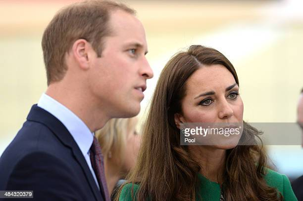 Prince William Duke of Cambridge and Catherine Duchess of Cambridge during a visit to the Avantidrome on April 12 2014 in Hamilton New Zealand The...