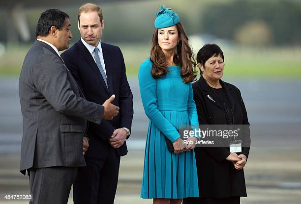 Prince William Duke of Cambridge and Catherine Duchess of Cambridge at the official greeting at Dunedin International Airport on April 13 2014 in...