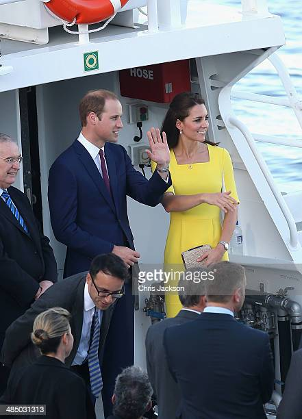 Prince William Duke of Cambridge and Catherine Duchess of Cambridge board a Police boat to travel to Government House outside Sydney Opera House on...