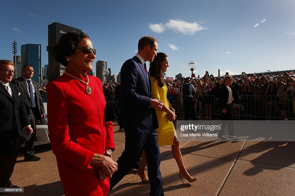 <a gi-track='captionPersonalityLinkClicked' href=/galleries/search?phrase=Prince+William&family=editorial&specificpeople=178205 ng-click='$event.stopPropagation()'>Prince William</a>, Duke of Cambridge and Catherine, Duchess of Cambridge are escorted by Governor of NSW <a gi-track='captionPersonalityLinkClicked' href=/galleries/search?phrase=Marie+Bashir&family=editorial&specificpeople=226887 ng-click='$event.stopPropagation()'>Marie Bashir</a> (L) as they arrive at the Sydney Opera House on April on April 16, 2014 in Sydney, Australia. The Duke and Duchess of Cambridge are on a three-week tour of Australia and New Zealand, the first official trip overseas with their son, Prince George of Cambridge.