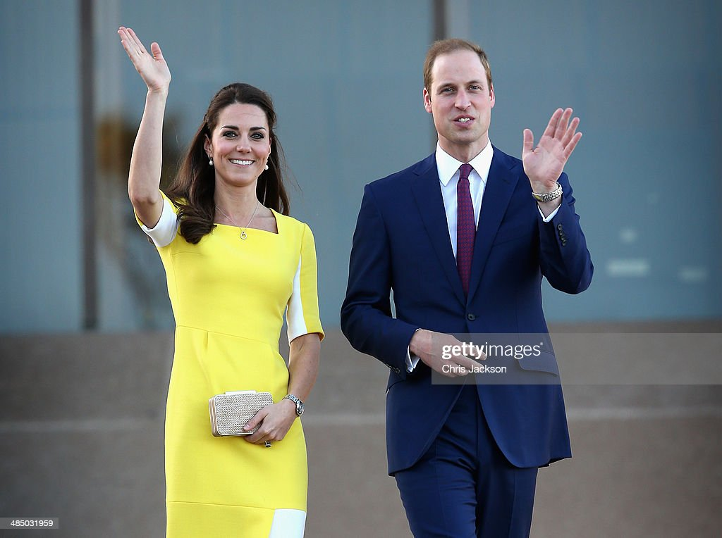 <a gi-track='captionPersonalityLinkClicked' href=/galleries/search?phrase=Prince+William&family=editorial&specificpeople=178205 ng-click='$event.stopPropagation()'>Prince William</a>, Duke of Cambridge and <a gi-track='captionPersonalityLinkClicked' href=/galleries/search?phrase=Catherine+-+Duchess+of+Cambridge&family=editorial&specificpeople=542588 ng-click='$event.stopPropagation()'>Catherine</a>, Duchess of Cambridge greet the crowds of public outside Sydney Opera House on April 16, 2014 in Sydney, Australia. The Duke and Duchess of Cambridge are on a three-week tour of Australia and New Zealand, the first official trip overseas with their son, Prince George of Cambridge.