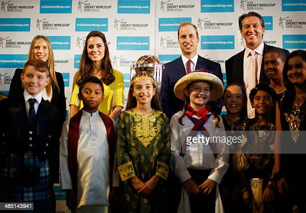Prince William Duke of Cambridge and Catherine Duchess of Cambridge pose with Australian Womens cricket team member Ellyse Perry former Australian...