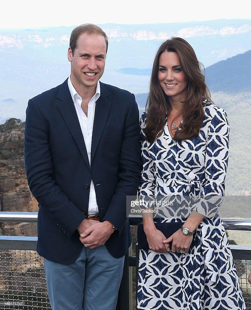 <a gi-track='captionPersonalityLinkClicked' href=/galleries/search?phrase=Prince+William&family=editorial&specificpeople=178205 ng-click='$event.stopPropagation()'>Prince William</a>, Duke of Cambridge and <a gi-track='captionPersonalityLinkClicked' href=/galleries/search?phrase=Catherine+-+Duchess+of+Cambridge&family=editorial&specificpeople=542588 ng-click='$event.stopPropagation()'>Catherine</a>, Duchess of Cambridge pose for a photograph at Echo Point with 'The Three Sisters' in the background on April 17, 2014 in Katoomba, Australia. The Duke and Duchess of Cambridge are on a three-week tour of Australia and New Zealand, the first official trip overseas with their son, Prince George of Cambridge.