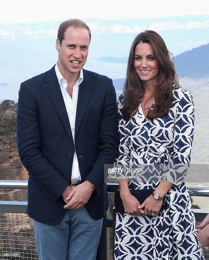 Prince William, Duke of Cambridge and Catherine, Duchess of Cambridge pose for a photograph at Echo Point with the Three Sisters Rocks in the background on April 17, 2014 in Katoomba, Australia. The Duke and Duchess of Cambridge are on a three-week tour of Australia and New Zealand, the first official trip overseas with their son, Prince George of Cambridge.