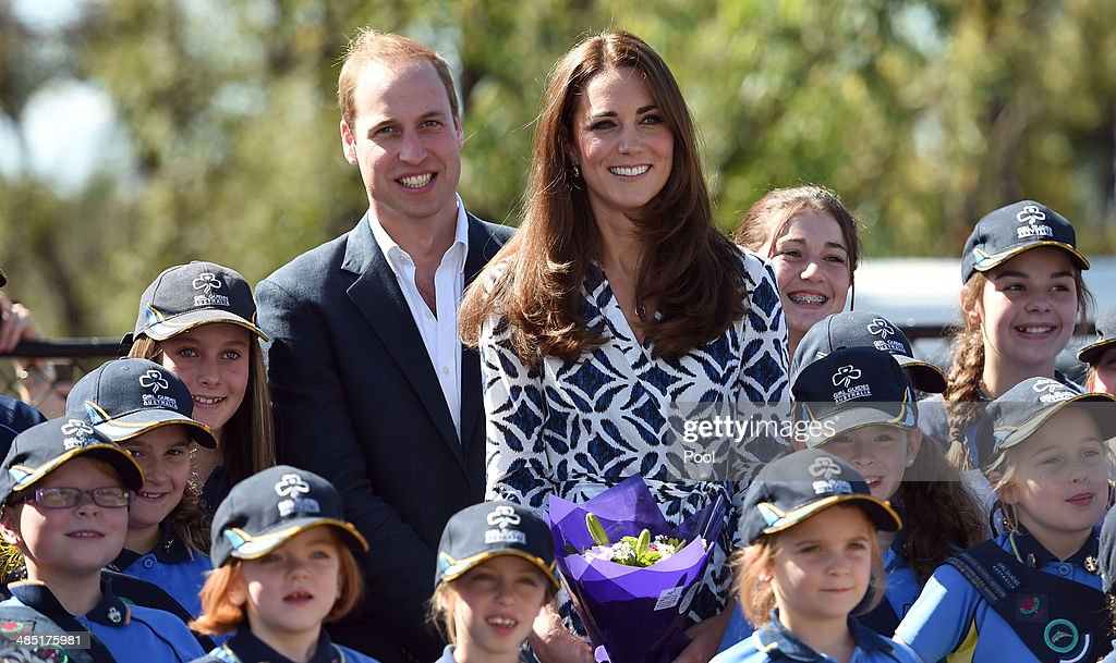 <a gi-track='captionPersonalityLinkClicked' href=/galleries/search?phrase=Prince+William&family=editorial&specificpeople=178205 ng-click='$event.stopPropagation()'>Prince William</a>, Duke of Cambridge and <a gi-track='captionPersonalityLinkClicked' href=/galleries/search?phrase=Catherine+-+Duchess+of+Cambridge&family=editorial&specificpeople=542588 ng-click='$event.stopPropagation()'>Catherine</a>, Duchess of Cambridge pose for a photo with Girl Guides after planting a tree at the Winmalee Guide Hall on April 17, 2014 in Winmalee, Australia. The Duke and Duchess of Cambridge are on a three-week tour of Australia and New Zealand, the first official trip overseas with their son, Prince George of Cambridge.