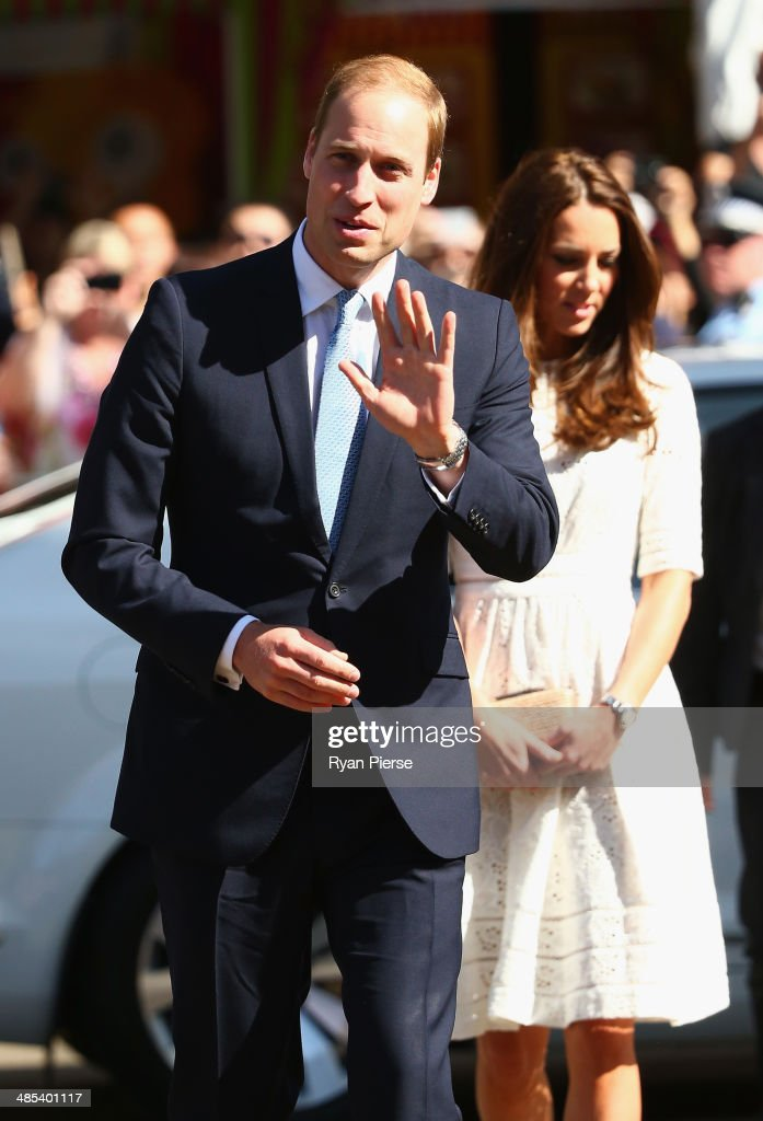Prince William Duke of Cambridge and Catherine Duchess of Cambridge arrive at the Sydney Easter Show on April 18 2014 in Sydney Australia The Duke...