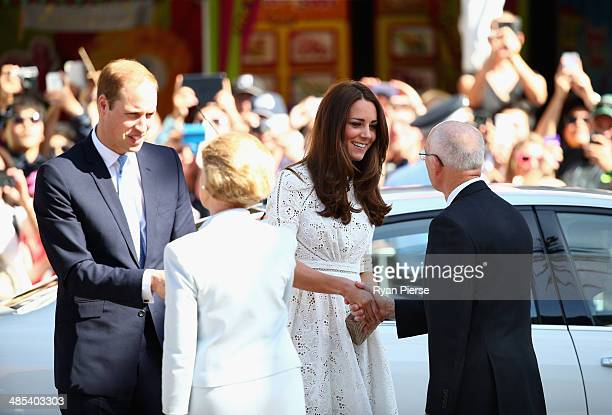 Prince William Duke of Cambridge and Catherine Duchess of Cambridge meet Glenn Dudley President Royal Agricultural Society of New South Wales and his...