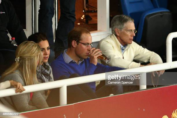 Prince William Duke of Cambridge and Catherine Duchess of Cambridge watch the round 10 Super Rugby match between the Waratahs and the Bulls at...