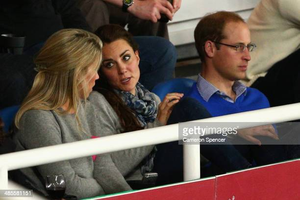 Prince William Duke of Cambridge and Catherine Duchess of Cambridge watch on during the round 10 Super Rugby match between the Waratahs and the Bulls...