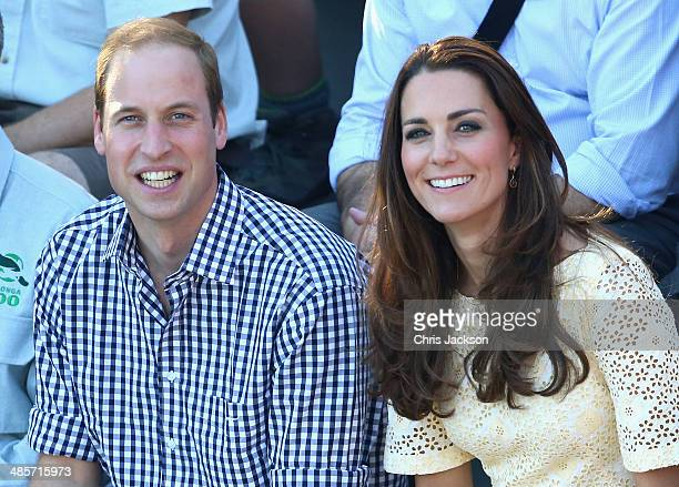 Prince William Duke of Cambridge and Catherine Duchess of Cambridge watch a bird display at Taronga Zoo on April 20 2014 in Sydney Australia The Duke...