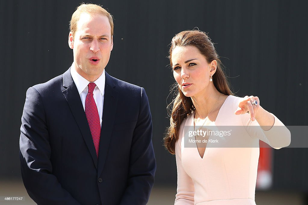 Prince William, Duke of Cambridge and Catherine, Duchess of Cambridge reacts after seeing a performer fall from his bicycle during a display at the skate park in Elizabeth on April 23, 2014 in Adelaide, Australia. The Duke and Duchess of Cambridge are on a three-week tour of Australia and New Zealand, the first official trip overseas with their son, Prince George of Cambridge.