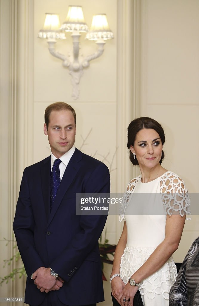<a gi-track='captionPersonalityLinkClicked' href=/galleries/search?phrase=Prince+William&family=editorial&specificpeople=178205 ng-click='$event.stopPropagation()'>Prince William</a>, Duke of Cambridge and <a gi-track='captionPersonalityLinkClicked' href=/galleries/search?phrase=Catherine+-+Duchess+of+Cambridge&family=editorial&specificpeople=542588 ng-click='$event.stopPropagation()'>Catherine</a>, Duchess of Cambridge listen to an address by the Governor General Peter Cosgrove during a reception hosted by the Governor General Peter Cosgrove and Her excellency Lady Cosgrove at Government House on April 24, 2014 in Canberra, Australia. The Duke and Duchess of Cambridge are on a three-week tour of Australia and New Zealand, the first official trip overseas with their son, Prince George of Cambridge.