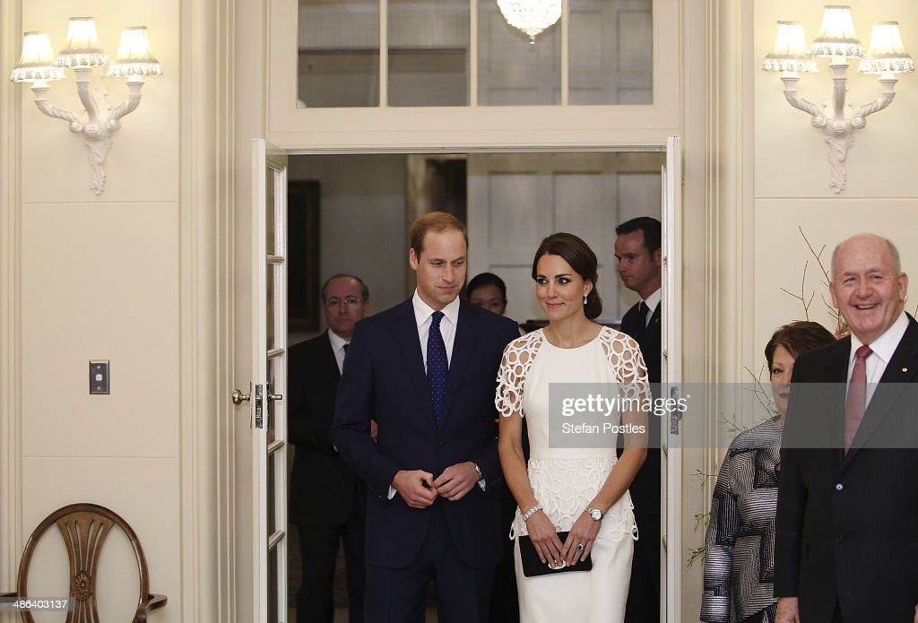 <a gi-track='captionPersonalityLinkClicked' href=/galleries/search?phrase=Prince+William&family=editorial&specificpeople=178205 ng-click='$event.stopPropagation()'>Prince William</a>, Duke of Cambridge and <a gi-track='captionPersonalityLinkClicked' href=/galleries/search?phrase=Catherine+-+Duchess+of+Cambridge&family=editorial&specificpeople=542588 ng-click='$event.stopPropagation()'>Catherine</a>, Duchess of Cambridge arrive with Governor General <a gi-track='captionPersonalityLinkClicked' href=/galleries/search?phrase=Peter+Cosgrove&family=editorial&specificpeople=2499866 ng-click='$event.stopPropagation()'>Peter Cosgrove</a> and Lady Cosgrove to a reception at Government House on April 24, 2014 in Canberra, Australia. The Duke and Duchess of Cambridge are on a three-week tour of Australia and New Zealand, the first official trip overseas with their son, Prince George of Cambridge.