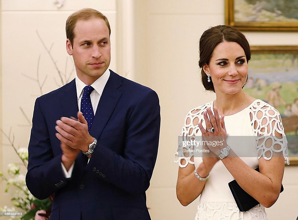 <a gi-track='captionPersonalityLinkClicked' href=/galleries/search?phrase=Prince+William&family=editorial&specificpeople=178205 ng-click='$event.stopPropagation()'>Prince William</a>, Duke of Cambridge and Catherine, Duchess of Cambridge listen to an address by the Governor General Peter Cosgrove during a reception hosted by the Governor General Peter Cosgrove at Government House on April 24, 2014 in Canberra, Australia. The Duke and Duchess of Cambridge are on a three-week tour of Australia and New Zealand, the first official trip overseas with their son, Prince George of Cambridge.