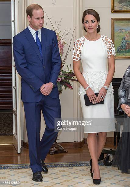 Prince William Duke of Cambridge and Catherine Duchess of Cambridge attend a reception hosted by the Governor General Peter Cosgrove and Her...