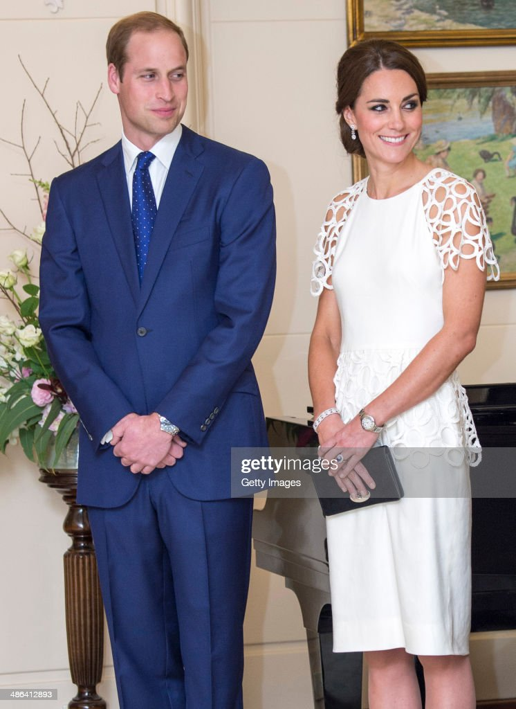 <a gi-track='captionPersonalityLinkClicked' href=/galleries/search?phrase=Prince+William&family=editorial&specificpeople=178205 ng-click='$event.stopPropagation()'>Prince William</a>, Duke of Cambridge and <a gi-track='captionPersonalityLinkClicked' href=/galleries/search?phrase=Catherine+-+Duchess+of+Cambridge&family=editorial&specificpeople=542588 ng-click='$event.stopPropagation()'>Catherine</a>, Duchess of Cambridge attend a reception hosted by the Governor General Peter Cosgrove and Her excellency Lady Cosgrove at Government House on April 24, 2014 in Canberra, Australia. The Duke and Duchess of Cambridge are on a three-week tour of Australia and New Zealand, the first official trip overseas with their son, Prince George of Cambridge.
