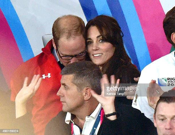 Prince William Duke of Cambridge and Catherine Duchess of Cambridge attend the England v Wales match during the Rugby World Cup 2015 on September 26...