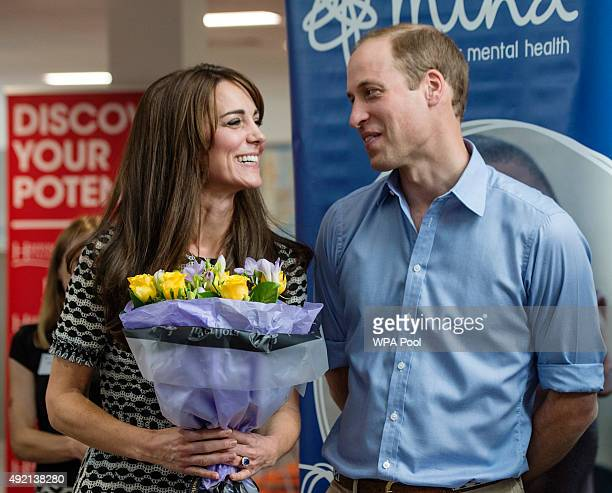 Prince William Duke of Cambridge and Catherine Duchess of Cambridge attend an event hosted by Mind at Harrow College to mark World Mental Health Day...