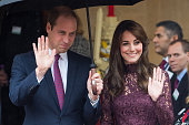 Prince William Duke of Cambridge and Catherine Duchess of Cambridge wave as Chinese President Xi Jinping and Peng Liyuan leave a creative industry...