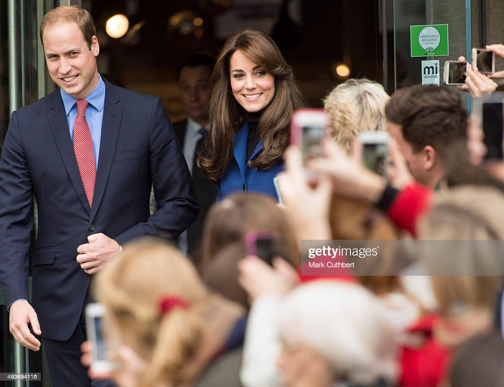 Prince William Duke of Cambridge and Catherine Duchess of Cambridge visit the Dundee Rep Theatre on October 23 2015 in Dundee Scotland