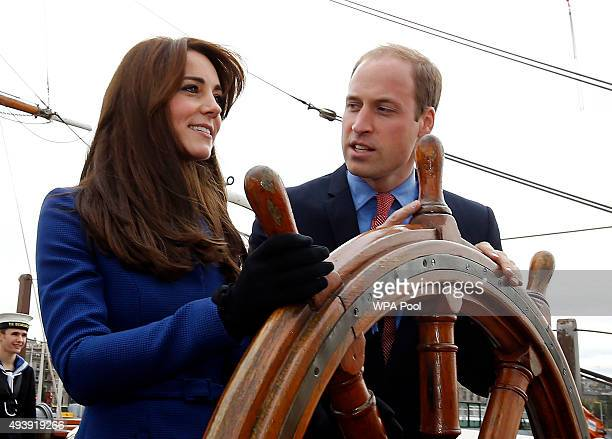 Prince William Duke of Cambridge and Catherine Duchess of Cambridge are seen during their visit to the original Royal Research Ship Discovery as part...