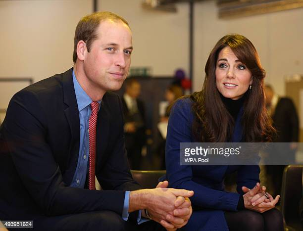 Prince William Duke of Cambridge and Catherine Duchess of Cambridge are seen during their visit to Dundee Rep theatre as part of an away day to the...