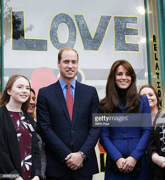 Prince William Duke of Cambridge and Catherine Duchess of Cambridge are seen during their visit to the events venue The Shore as part of an away day...