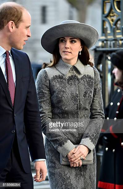 Prince William Duke of Cambridge and Catherine Duchess of Cambridge attend the Commonwealth Observance Day Service on March 14 2016 in London United...