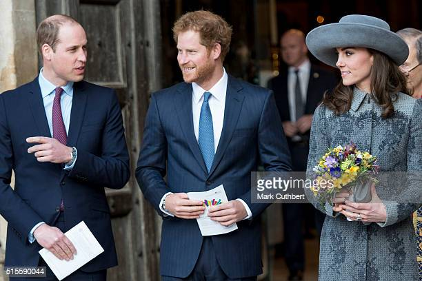 Prince William Duke of Cambridge and Catherine Duchess of Cambridge with Prince Harry attend the Commonwealth Observance Day Service on March 14 2016...