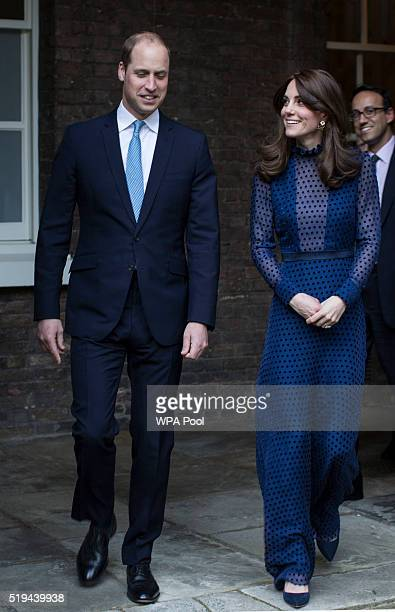 Prince William Duke of Cambridge and Catherine Duchess of Cambridge attend a reception ahead of their tour of India and Bhutan at Kensington Palace...