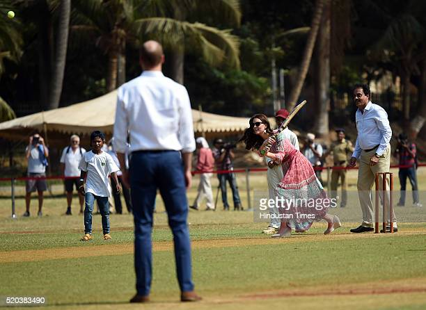 Prince William Duke of Cambridge and Catherine Duchess Of Cambridge known as Kate Middleton before her marriage and former Indian cricketer Dilip...