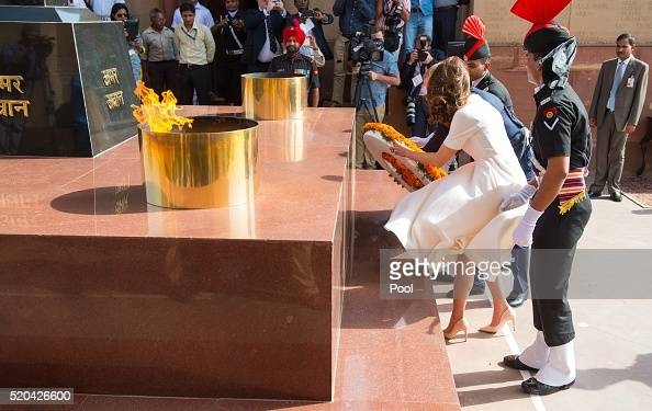 Prince William Duke of Cambridge and Catherine Duchess of Cambridge lay a wreath to honour the soldiers from Indian regiments who served in World War...