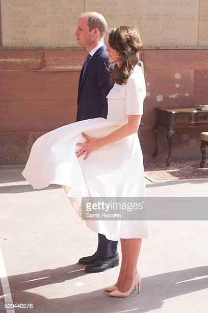 Prince William Duke of Cambridge and Catherine Duchess of Cambridge visit India Gate Memorial on April 11 2016 in New Delhi India