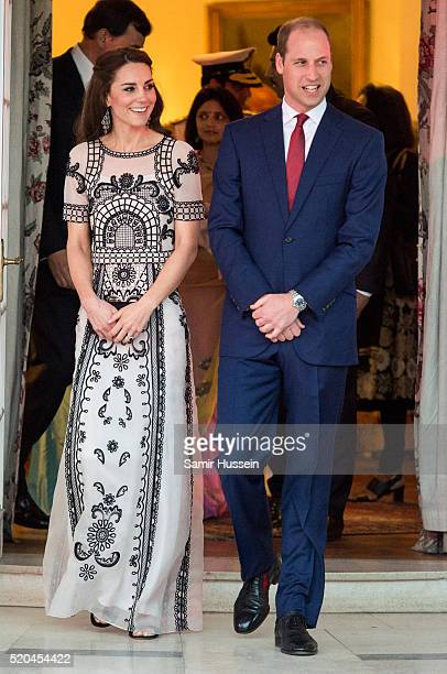 Prince William Duke of Cambridge and Catherine Duchess of Cambridge attend a Garden party celebrating the Queen's 90th birthday on April 11 2016 in...