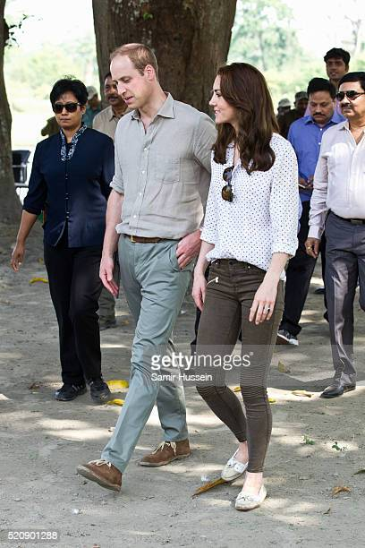 Prince William Duke of Cambridge and Catherine Duchess of Cambridge visit Kaziranga National Park for an open air Jeep safari on April 13 2016 in...