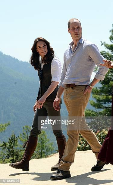 Prince William Duke of Cambridge and Catherine Duchess of Cambridge trek up to Tiger's Nest during a visit to Bhutan on the 15th April 2016 in...