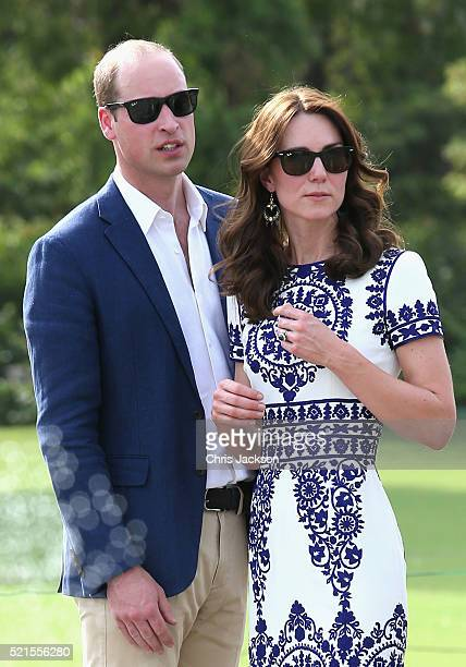 Prince William Duke of Cambridge and Catherine Duchess of Cambridge visit the Taj Mahal on April 16 2016 in Agra India This is the last engagement of...