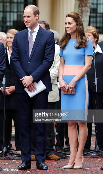 Prince William Duke of Cambridge and Catherine Duchess of Cambridge attend 'The Patron's Lunch' celebrations to mark Queen Elizabeth II's 90th...