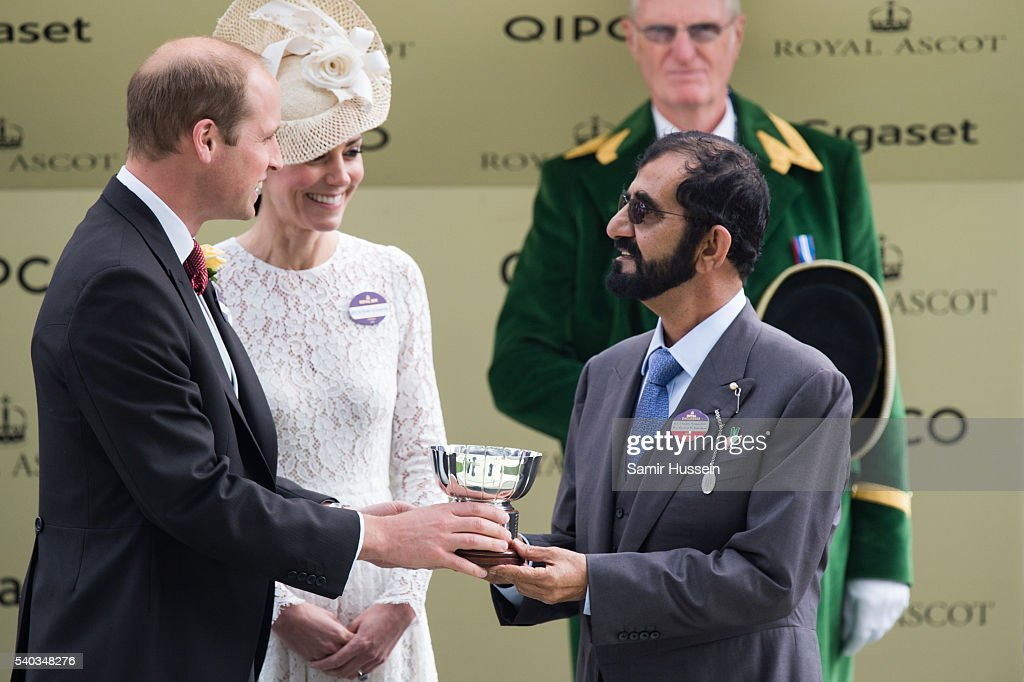 <a gi-track='captionPersonalityLinkClicked' href=/galleries/search?phrase=Prince+William&family=editorial&specificpeople=178205 ng-click='$event.stopPropagation()'>Prince William</a>, Duke of Cambridge and Catherine, Duchess of Cambridge award the Duke of Cambridge Stakes winners trophy to owner Mohammed bin Rashid Al Maktoum day 2 of Royal Ascot at Ascot Racecourse on June 8, 2016 in Ascot, England.