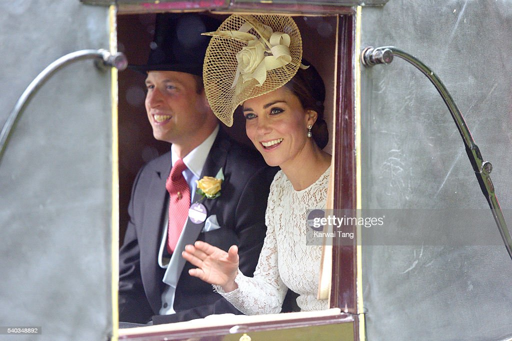 Prince William, Duke of Cambridge and Catherine, Duchess of Cambridge arrives for day 2 of Royal Ascot at Ascot Racecourse on June 15, 2016 in Ascot, England.