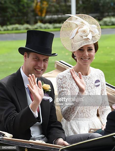 Prince William Duke of Cambridge and Catherine Duchess of Cambridge arrive in an open carriage to attend Day 2 of Royal Ascot on June 15 2016 in...