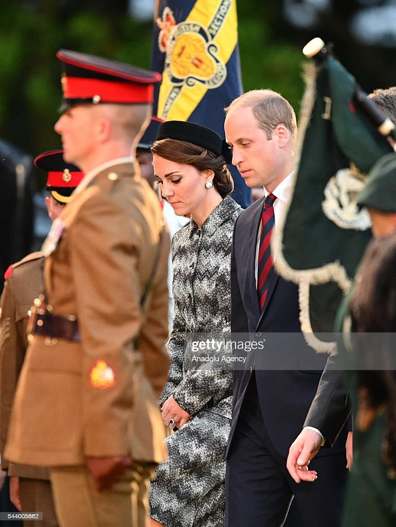 Prince William, Duke of Cambridge and Catherine, Duchess of Cambridge take part in a vigil at Thiepval Memorial to the Missing of the Somme during Somme Centenary Commemorations on June 30, 2016 in Thiepval, France.