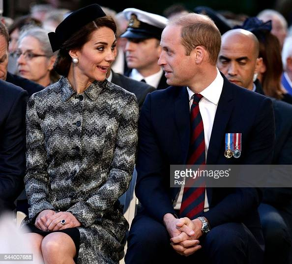 Prince William Duke of Cambridge and Catherine Duchess of Cambridge attend part of a militaryled vigil to commemorate the 100th anniversary of the...