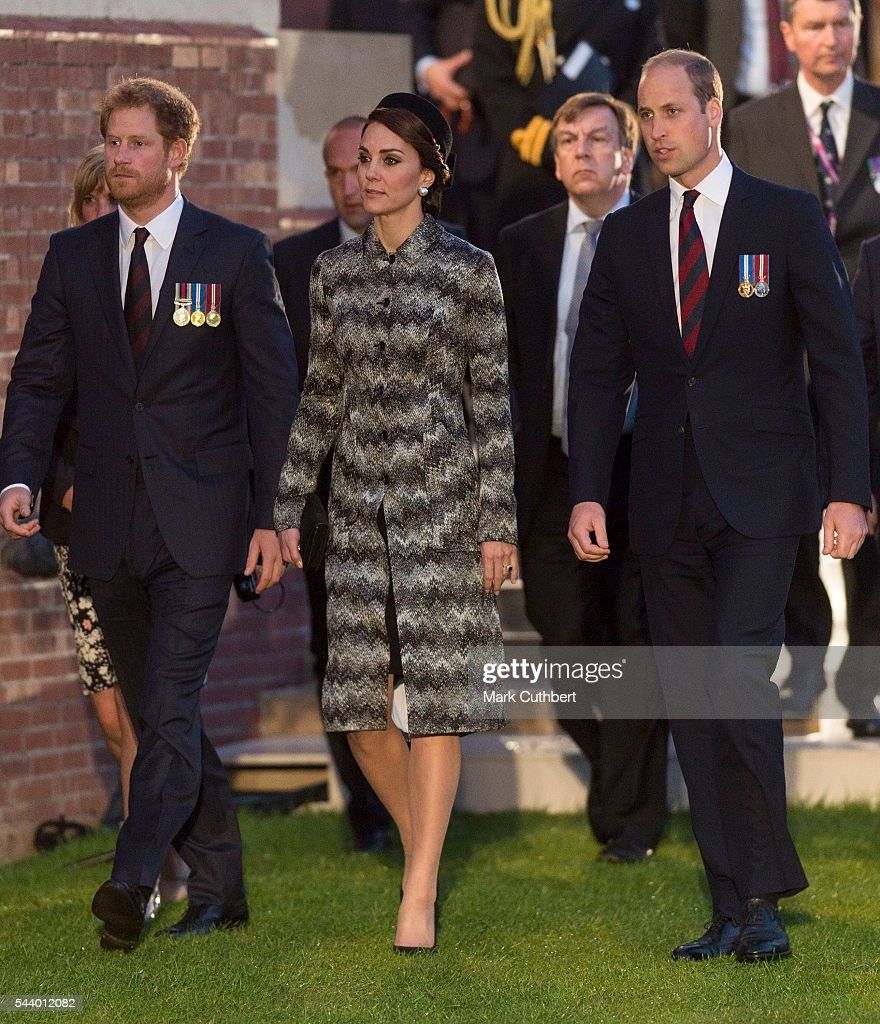 <a gi-track='captionPersonalityLinkClicked' href=/galleries/search?phrase=Prince+William&family=editorial&specificpeople=178205 ng-click='$event.stopPropagation()'>Prince William</a>, Duke of Cambridge and Catherine, Duchess of Cambridge with <a gi-track='captionPersonalityLinkClicked' href=/galleries/search?phrase=Prince+Harry&family=editorial&specificpeople=178173 ng-click='$event.stopPropagation()'>Prince Harry</a> attend a Vigil at The Commonwealth War Graves Commission Thiepval Memorial for the Commemoration of the Centenary of The Battle of the Somme on June 30, 2016 in Albert, France.