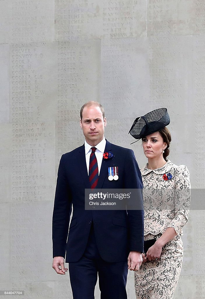 <a gi-track='captionPersonalityLinkClicked' href=/galleries/search?phrase=Prince+William&family=editorial&specificpeople=178205 ng-click='$event.stopPropagation()'>Prince William</a>, Duke of Cambridge and Catherine, Duchess of Cambridge walk past names of the missing on Thiepval Memorial during Somme Centenary Commemorations on July 1, 2016 in Thiepval, France. Today marks exactly 100 years since the beginning of the battle of the Somme.