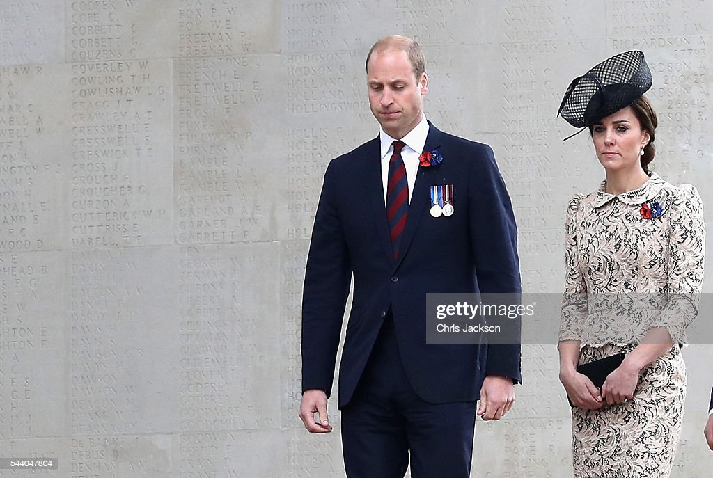 <a gi-track='captionPersonalityLinkClicked' href=/galleries/search?phrase=Prince+William&family=editorial&specificpeople=178205 ng-click='$event.stopPropagation()'>Prince William</a>, Duke of Cambridge and Catherine, Duchess of Cambridge walk past names on the Thiepval Memorial during Somme Centenary Commemorations on July 1, 2016 in Thiepval, France. Today marks exactly 100 years since the beginning of the battle of the Somme.
