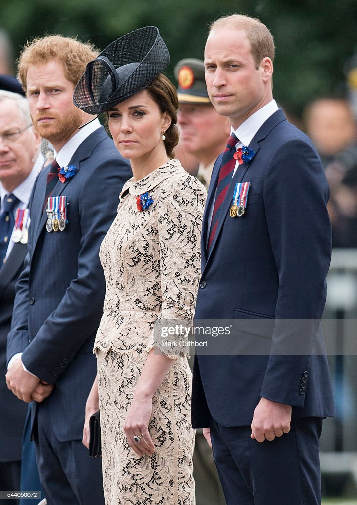 <a gi-track='captionPersonalityLinkClicked' href=/galleries/search?phrase=Prince+William&family=editorial&specificpeople=178205 ng-click='$event.stopPropagation()'>Prince William</a>, Duke of Cambridge and Catherine, Duchess of Cambridge with <a gi-track='captionPersonalityLinkClicked' href=/galleries/search?phrase=Prince+Harry&family=editorial&specificpeople=178173 ng-click='$event.stopPropagation()'>Prince Harry</a> attend a Commemoration of the Centenary of the Battle of the Somme at The Commonwealth War Graves Commission Thiepval Memorial on July 1, 2016 in Thiepval, France.