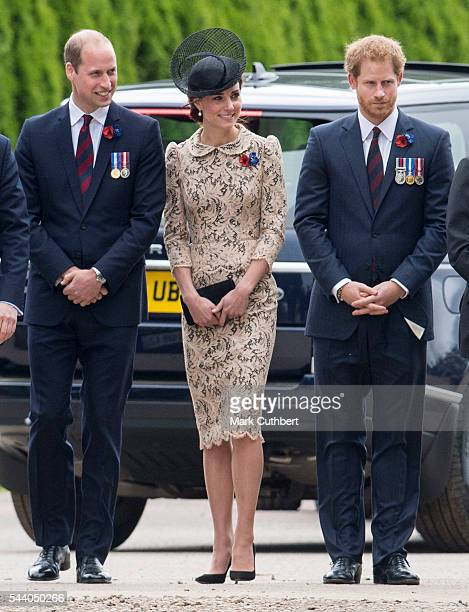 Prince William Duke of Cambridge and Catherine Duchess of Cambridge with Prince Harry attend a Commemoration of the Centenary of the Battle of the...