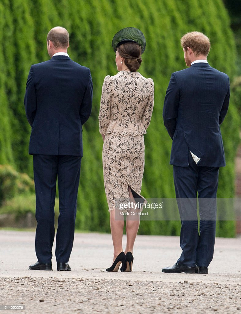 <a gi-track='captionPersonalityLinkClicked' href=/galleries/search?phrase=Prince+William&family=editorial&specificpeople=178205 ng-click='$event.stopPropagation()'>Prince William</a>, Duke of Cambridge and Catherine, Duchess of Cambridge with <a gi-track='captionPersonalityLinkClicked' href=/galleries/search?phrase=Prince+Harry&family=editorial&specificpeople=178173 ng-click='$event.stopPropagation()'>Prince Harry</a> attend a Commemoration of the Centenary of the Battle of the Somme at The Commonwealth War Graves Commission Thiepval Memorial on June 30, 2016 in Thiepval, France.